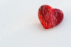 Red heart in the snow Royalty Free Stock Photos