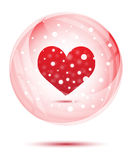 Red heart in snow globe Stock Images