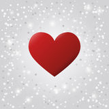 Red heart with snow. Vector Stock Image