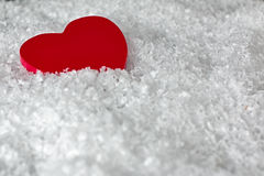 Red heart in the snow Royalty Free Stock Images