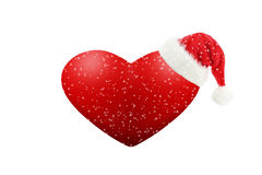 Red heart on snowy days Stock Photos