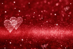 Red heart space for love. Glitter background Stock Images