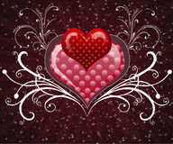 Red  heart on the sparkling background Stock Photography