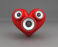 Red heart with speakers over grey Stock Images