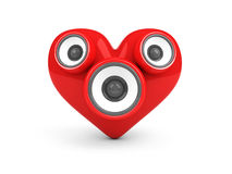 Red heart with speakers over white Royalty Free Stock Image