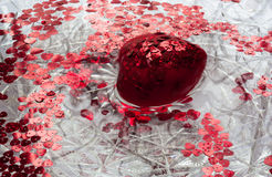 Red heart spinning in the water. A big red heart. Lots of little red hearts. They all float in water Royalty Free Stock Photos