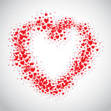 Red heart spray painted with scatter hears. Red heart spray painted with random scatter hears Royalty Free Stock Photo
