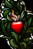 A red heart in stained  glass Royalty Free Stock Photo