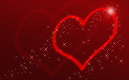 Red heart with stars. Bright red heart with stars, perfect for greeting Stock Images