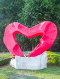 Red heart statue. Royalty Free Stock Images