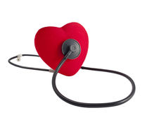 Red heart and the stethoscope Royalty Free Stock Image