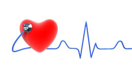 Red heart with a stethoscope Stock Image