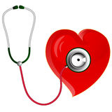 Red heart with Stethoscope Stock Photo