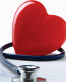 Red heart and a stethoscope. Royalty Free Stock Images