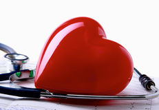 Red heart and a stethoscope. Stock Images