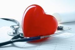 Red heart and a stethoscope. Royalty Free Stock Photos