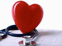Red heart and a stethoscope. Stock Photography