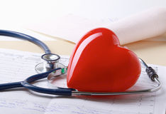 Red heart and a stethoscope. Royalty Free Stock Photography