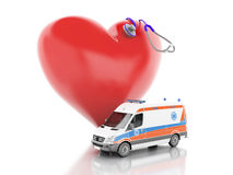 Red heart, stethoscope and ambulance. 3d illustration Stock Photos