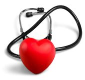 Red heart and a stethoscope on backgrouund. Red heart stethoscope hear white background isolated stock images