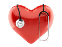 Red heart and stethoscope. 3d render of red heart and stethoscope isolated Royalty Free Stock Photos