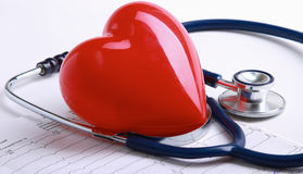 Red heart and a stethoscope on desk Royalty Free Stock Image