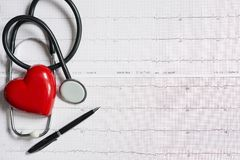 Red heart and stethoscope on electrocardiogram, heart health care concept royalty free stock photos