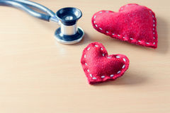 Red heart and stethoscope Stock Photography