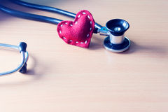 Red heart and stethoscope Stock Image