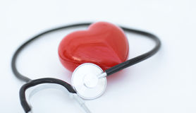 Red heart and a stethoscope Royalty Free Stock Photo