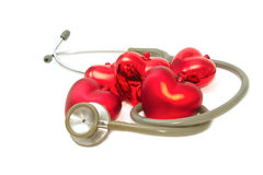 Red heart and a stethoscope Royalty Free Stock Photography