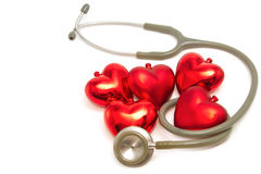 Red heart and a stethoscope Royalty Free Stock Image