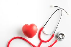 red heart and a stethoscope isolated Royalty Free Stock Image