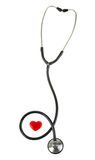 Red heart and a stethoscope, isolated on white background Royalty Free Stock Photography