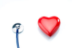 Red heart with stethoscope isolated on white background Royalty Free Stock Photos