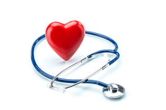 Red heart with stethoscope isolated on white background Stock Photo