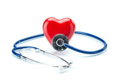 Red heart with stethoscope isolated on white background Stock Images