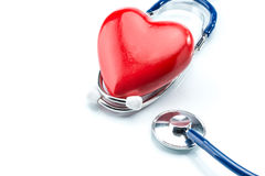Red heart with stethoscope isolated on white background Royalty Free Stock Images