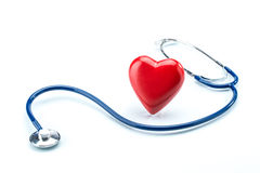 Red heart with stethoscope isolated on white background Royalty Free Stock Image