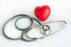 Red heart and a stethoscope Medical Equipment Healthcare medical. Insurance stock photos