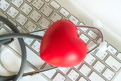 Red heart and a stethoscope Medical Equipment Healthcare medical. Insurance royalty free stock photos