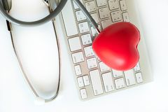 Red heart and a stethoscope Medical Equipment Healthcare medical. Insurance royalty free stock image