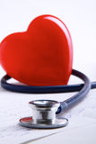 Red heart and a stethoscope  on white background Royalty Free Stock Image
