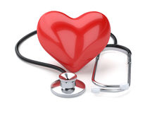Red heart and stethoscope  on white background Royalty Free Stock Photos