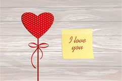 Red heart on a stick with the image. Yellow sheet of paper for n. Otes. Sticker. Valentine`s Day. Vector illustration. Greeting card with empty space for the Royalty Free Stock Images