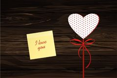 Red heart on a stick with the image. Yellow sheet of paper for n. Otes. Sticker. Valentine`s Day. Vector illustration. Greeting card with empty space for the Royalty Free Stock Photography