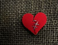 Red heart stitch Royalty Free Stock Photo