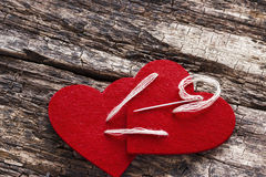 Red heart stitched together Royalty Free Stock Photos