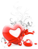 Red heart with stripe and blank white label Stock Photography