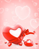 Red heart with stripe and blank white label Royalty Free Stock Photos